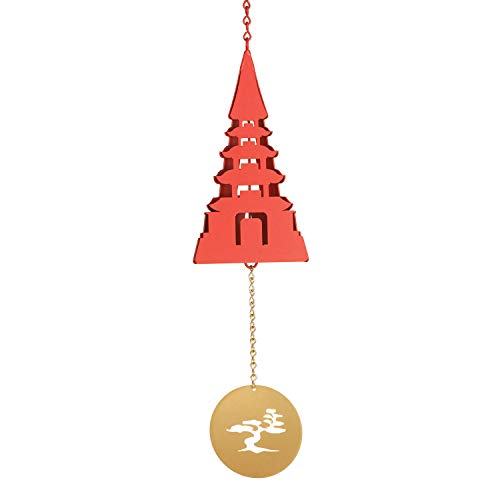 North Country Wind Bells Utau Meditation Bell - Temple Shaped Outdoor Hanging Wind Chime with Bonsai Tree Clapper