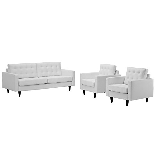 (Modway EEI-1312-WHI Empress Mid-Century Modern Upholstered Leather Sofa and Two Armchair Set White)