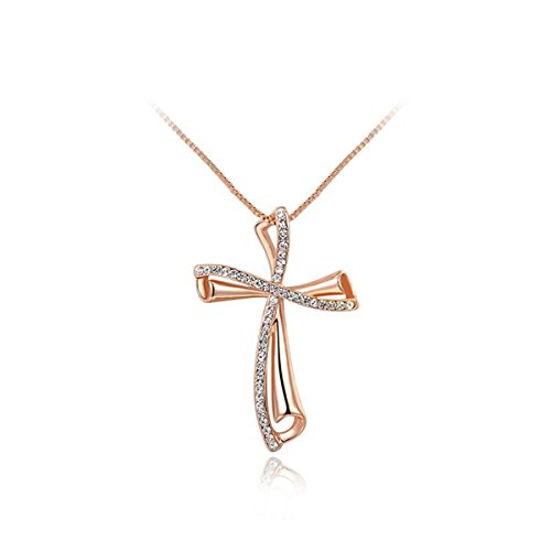 AROUND 101 Gold Plated Austrian Crystal AAA Zircon Custom Special Cross Pendant Necklace (Gold)