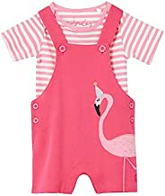 Joules Misha Applique Dungaree Set - Pink Flamingo