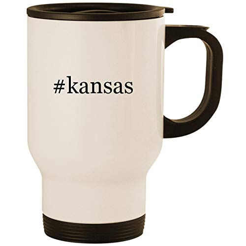 #kansas - Stainless Steel 14oz Road Ready Travel Mug, White
