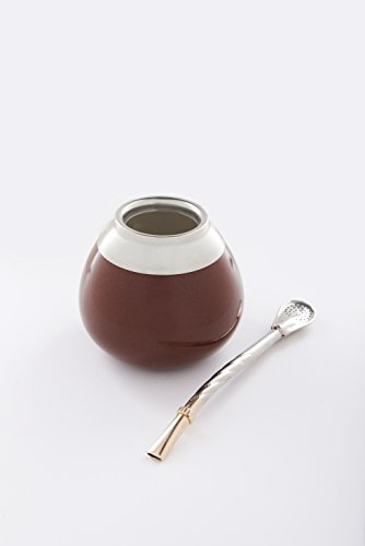 Ceramic mate gourd (mate cup) for yerba mate drinking - with bombilla (mate straw) - german silver (alpaca) ring (Brown)