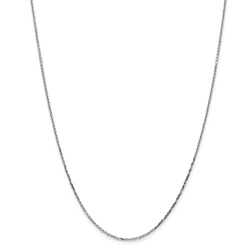 14k Gold Diamond-Cut Round Cable Chain Necklace with Lobster Clasp (1.3mm) - White-Gold, 24 in