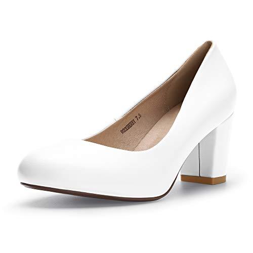 IDIFU Women's RO3 Sherry Classic Closed Round Toe Medium Chunky Block Heels Wedding Dress Office Pumps Shoes (7 M US, White Pu) ()