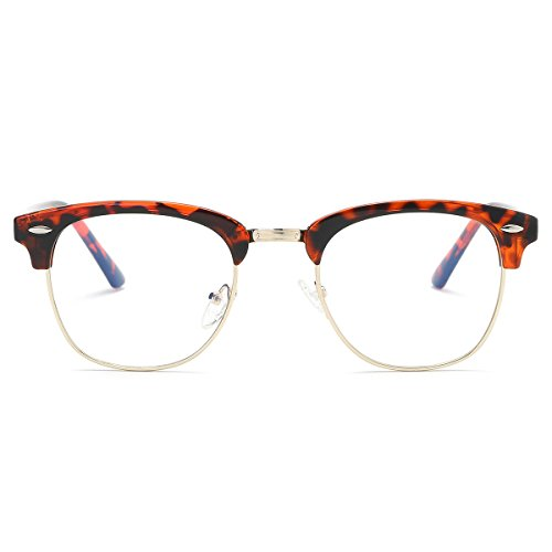 Amomoma Clubmaster Semi Rimless Eyeglasses Mirrored Polarized Sunglasses AM5018 C5 Tortoise Frame/Gold - Cheap Eyeglasses Clubmaster