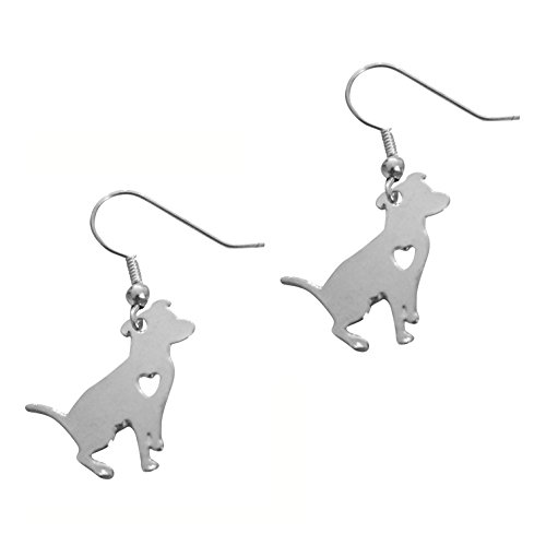 American Pit Bull Rescue - Art Attack Silvertone I Love My Dog Lover Heart Outline American Pitbull Terrier Pet Puppy Rescue Pendant Earrings
