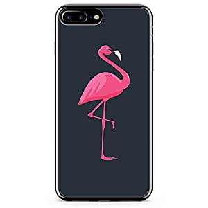 iPhone 8 Plus Transparent Edge Phone case Flamingo Phone Case Pink Animla iPhone 8 Plus Cover with Transparent Frame