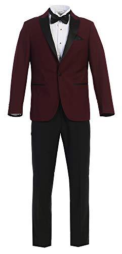 Satin Trim Tuxedo Trousers - Fine Tuxedo Men's New Fashion - Classic Formal Tuxedo Suit - Ultra Soft Fabric (36 Short, Burgundy With Black Pants Slim Fit)