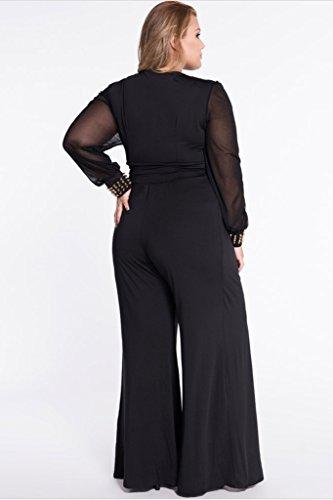 Cokar Womens Plus Size Jumpsuits Long Sleeve V-neck Casual Style Set Black