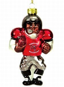 NFL 4' Blown Glass African American Football Player (Set of 2) NFL Team: Tampa Bay Buccaneers - Nfl Glass Player Ornament