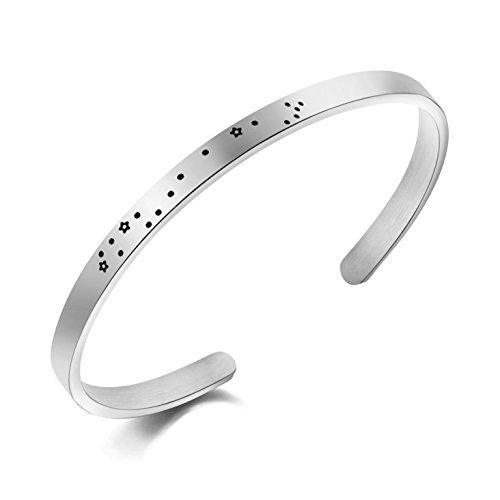 (Memgift Scorpio Bracelet Constellation Stainless Steel Cuff Jewelry Gifts for Women)