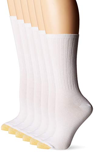Gold Toe Women's Casual Ribbed Crew Socks, 6 Pairs, White, Shoe Size: 8-13