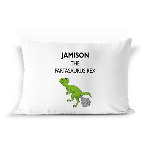 BarborasBoutique Jamison Name Gift Pillowcase - PIL7 Funny Dinosaur Dino Farta-Saurus T-Rex Fart Farting Joke Pillow Case for Men Kids Boys Children Male Adults Personalized Standard Size (Jamison Pillows)