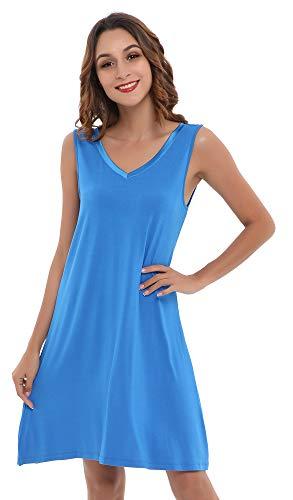 (NEIWAI Women's Sleep Shirt Bamboo Viscose Nightgowns V Neck Nightshirt Capri L)