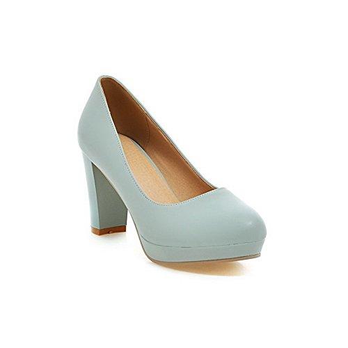 AllhqFashion Damen PU Hoher Absatz Rund Zehe Rein Ziehen auf Pumps Schuhe Blau