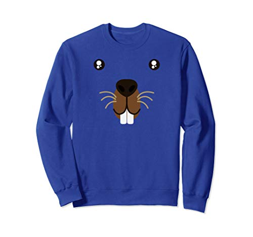 Cute Animal Face Groundhog Day Beaver Kawaii Style Costume  Sweatshirt ()