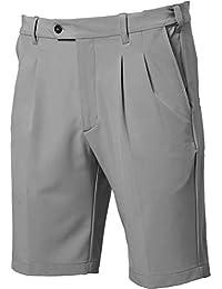 Mens Pleated Expandable Waist Performance Golf Shorts