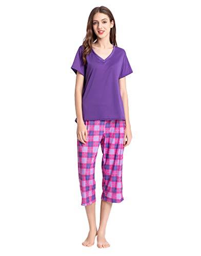 YIJIU Womens Plaid Pajama Sets Short Sleeve Top with Capri Pants Sleepwear Pjs ()