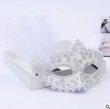 TWELVEMJ Mujer Chica Máscara de Plumas de Encaje con Flecos ...
