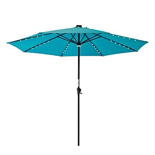 C-Hopetree 11′ Outdoor Patio Market Umbrella Solar Charging LED Lights Crank Winder Aqua Blue