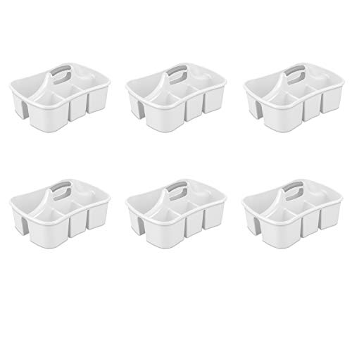 (Sterilite 15888006 Divided Ultra Caddy, White Caddy w/ Titanium Insert, 6-Pack)