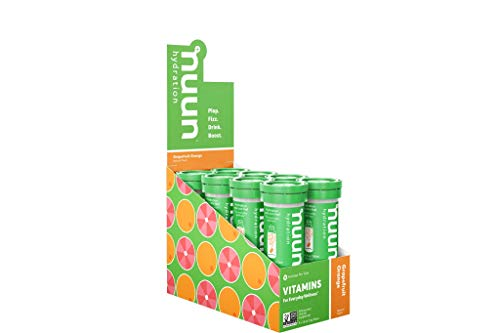 Nuun Hydration: Vitamin + Electrolyte Drink Tablets, Grapefruit Orange, Box of 8 Tubes (96 servings), Enhanced for Energy and Daily Health