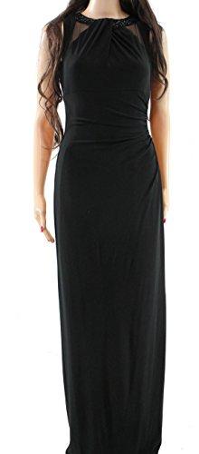 Lauren by Ralph Lauren Women's Ruched Beaded-Neck Gown Black 10