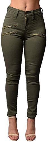 Dchen Primavera Señoras Estiramiento Hombres Rasgados Mezclilla Pantalón Jeans Grün Casuales Mujeres Pantalones Alta Ocio Novio Cintura Verano Distressed De Los xqIrIt
