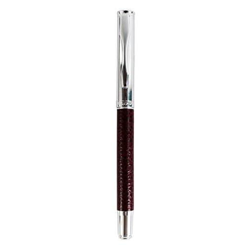 Sipliv stylo plume mince avec manche de crayon en cuir pvc plume fine bleu
