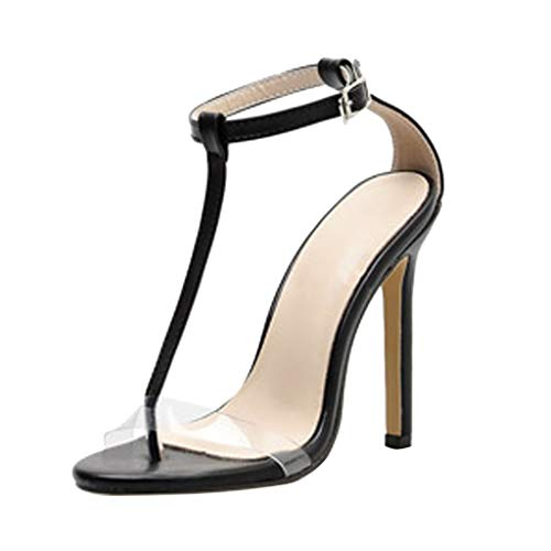 (Midress Women's High Heels Open Toe Stiletto Flip Flops Sandals Ankle Strap Buckle Sandals Hollow Transparent Party Shoes)