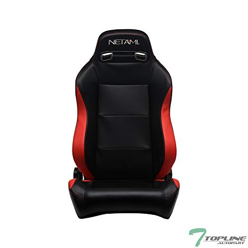 Topline Autopart Universal 1X T-R Sport Style Black & Red PVC Leather Red Stitch Reclinable Racing Bucket Seat with Slider