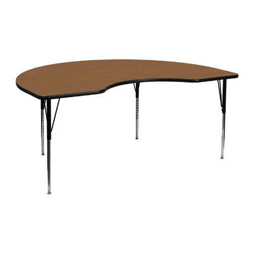 Flash Furniture 48''W x 72''L Kidney Oak Thermal Laminate Activity Table - Standard Height Adjustable (Childrens Kidney Shaped Activity Table)