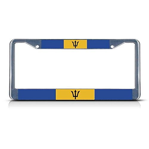Barbados Flag Metal License Plate Frame Tag Border Two Holes Perfect for Men Women Car garadge Decor ()