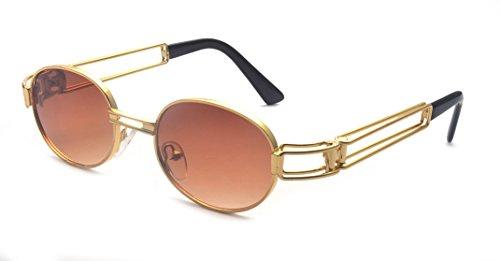 ALWAYSUV Vinatge Retro Round Circle Lens Lennon Sunglasses Brown (Vinatge Glasses)
