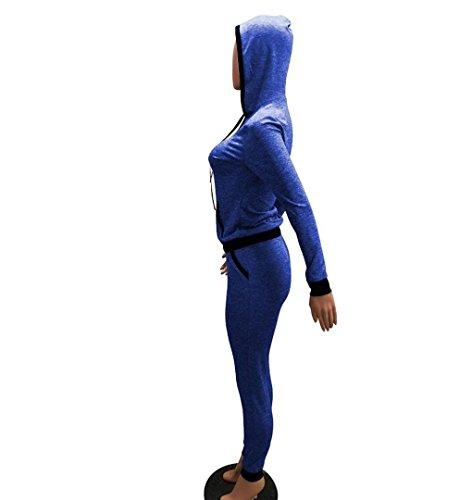 ZEZKT Damen Casual Sportanzug Jogginganzug Sweatshirt+Sporthose Lange Ärmel Hoodies Sport Anzug Frauen Workout Lauf Outfits rainingsanzug Jogginganzug Kapuzenpullover Tracksuits Blau