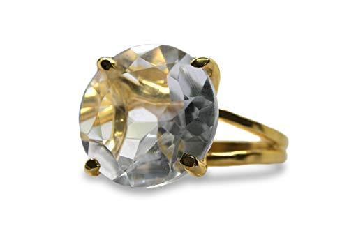 Anemone Jewelry Lustrous Gem Rings for Women - 16mm Round Crystal Quartz in 14k Gold - Elegant And Nice Rings for Women [Handmade]