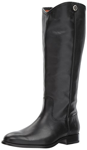 FRYE Women's Melissa Button 2 Extended Calf Riding Boot, Black Extended Calf, 7.5 M US by FRYE