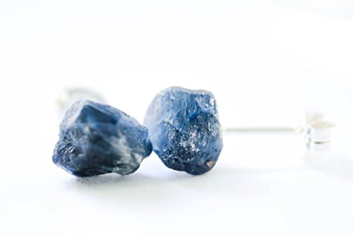 Blue Sapphire Yellow Brooch (Blue Sapphire - Bohemian Earrings - Solid Sterling Silver Stud Posts)