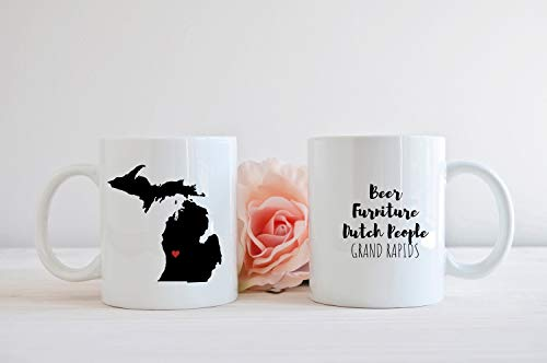Set of 2 Grand Rapids Michigan Mug, MI City Mug Coffee Lover Gift, Funny Coffee Mug, Grand Rapids Beer Furniture Dutch People for $<!--$27.99-->
