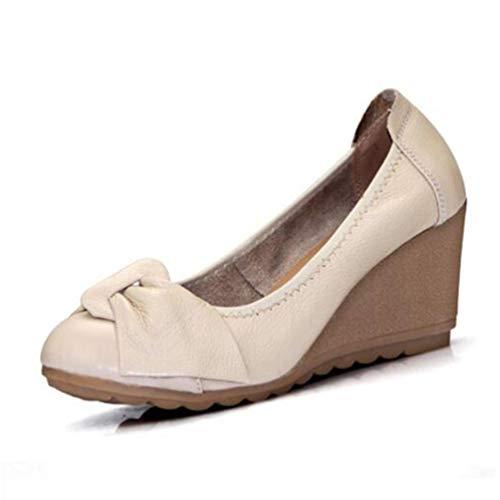 Escarpins Cuir Mode Véritable Rond Beige Hauts Talons Femmes Wedge Chaussure Femme Chaussures De wvqFAC