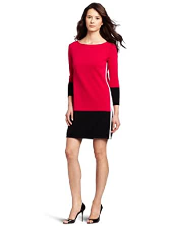 Magaschoni Women's Color Block Tunic, Paradise Pink/Black/White, Large