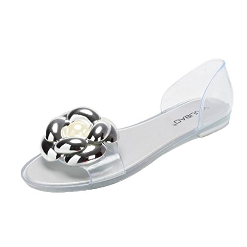 Jamicy Women Ladies Fashion Flower Design Fish Mouth Plastic Flat Summer Casual Jelly Beach Sandals Silver