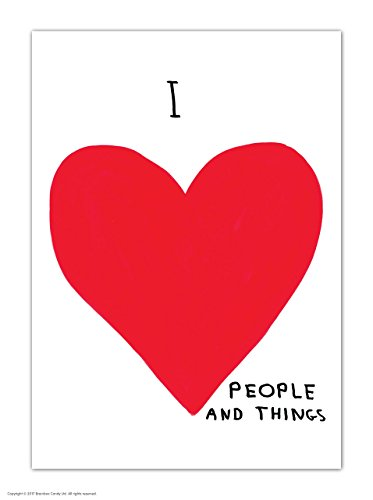 (Funny Humorous 'David Shrigley I Love People' Novelty Postcard)