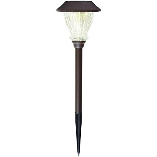 Hampton Bay Solar Bronze LED Crackle Glass Solar Outdoor Pathway Light (6-Pack)  (Store Return)