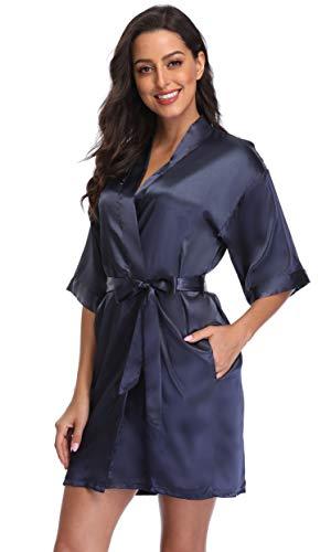 Season Dressing Women Satin Plain Short Kimono Bridesmaid Bathrobe Wedding Party Robe, Navy S/M