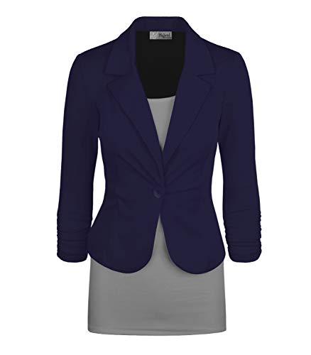Womens Casual Work Office Blazer Jacket JK1131 1012 Navy M ()
