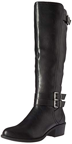 Madden Girl Women's Warner Equestrian Boot, Black Paris, 6 M US