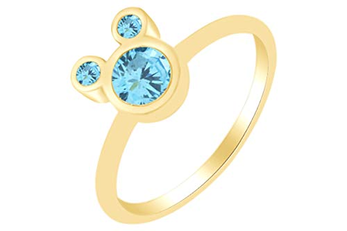 (AFFY Round Shape Simulated Aquamarine Mickey Mouse Ring 14k Yellow Gold Over Sterling Silver Ring Size 9)