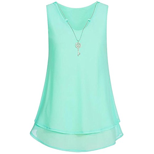 TAORE Long sleeve Women's Sleeveless V-Neck Chiffon Necklace Casual Tank Top Vest (US6/L, Necklace-Mint Green)