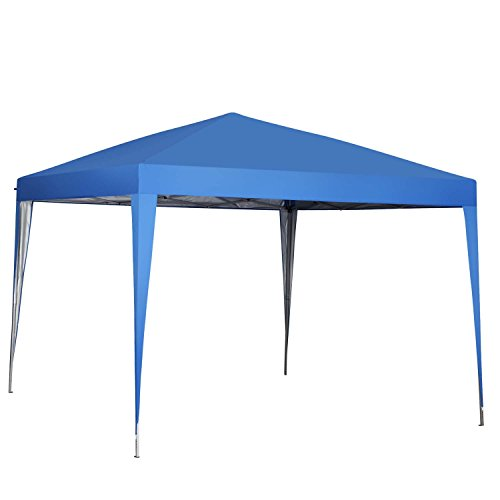 Blue Canopy Gazebo - 10 x 10 ft Pop-Up Canopy Tent Gazebo for Beach Tailgating Party Blue